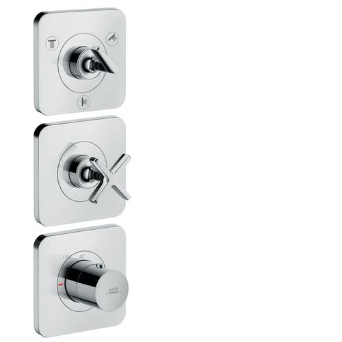 Brushed Red Gold Thermostatic module 380/120 for concealed installation for 3 functions with escutcheons