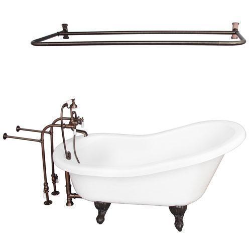 "Imogene 67"" Acrylic Slipper Tub Kit in White - Oil Rubbed Bronze Accessories"