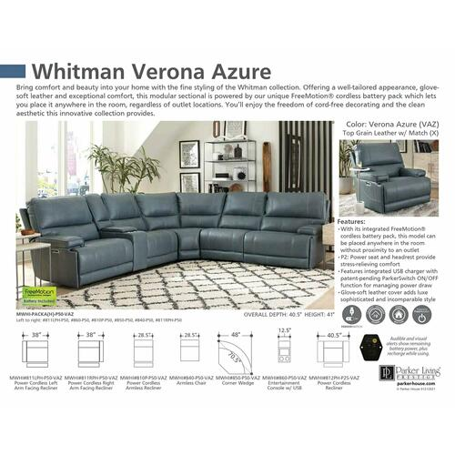 Parker House - WHITMAN - VERONA AZURE - Powered By FreeMotion Power Cordless Right Arm Facing Recliner