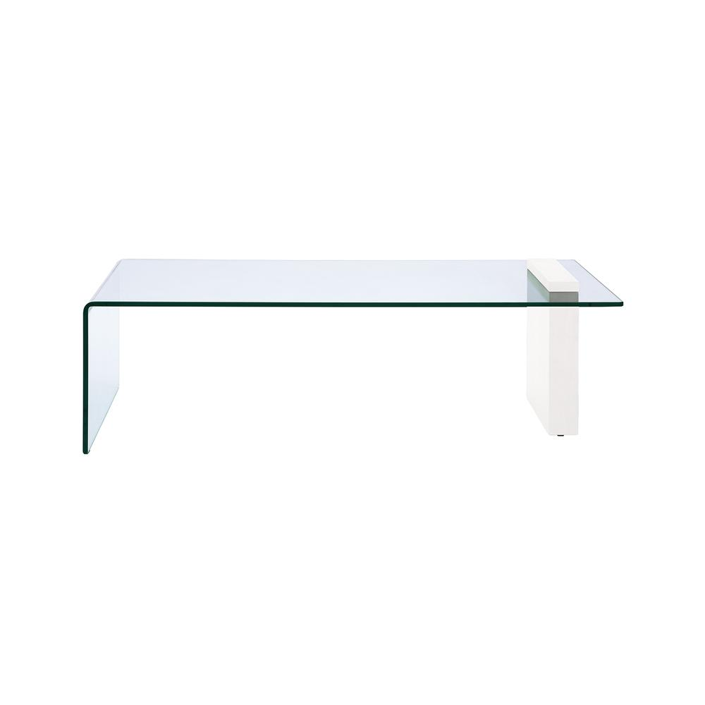 The Buono Coffee Table In High Gloss White Lacquer With Clear Glass