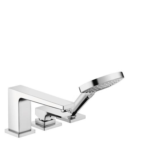 Chrome 3-Hole Roman Tub Set Trim with Lever Handle and 1.75 GPM Handshower