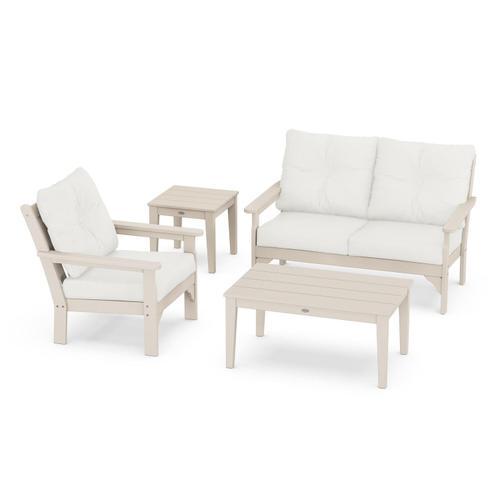 Vineyard 4-Piece Deep Seating Set in Sand / Natural Linen