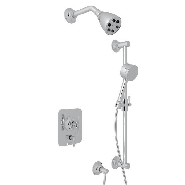 Polished Chrome GRACELINE PRESSURE BALANCE SHOWER PACKAGE with Metal Dial Handle Graceline Series Only