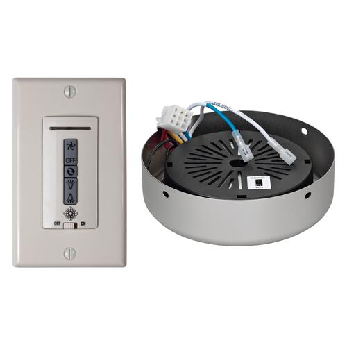 Hardwired wall remote control, receiver, white & almond switch plates. BRUSHED PEWTER receiver hub. Fan reverse, speed, and upli