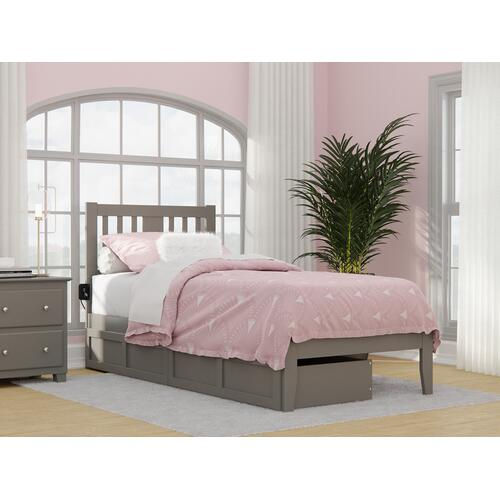 Ag8913419 In By Atlantic Furniture In Rockwall Tx Tahoe Twin Extra Long Bed With Usb Turbo Charger And 2 Extra Long Drawers In Grey