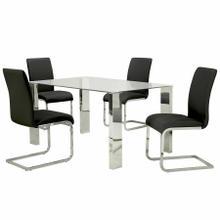 See Details - Frankfurt/Maxim 5pc Dining Set, Chrome/Black