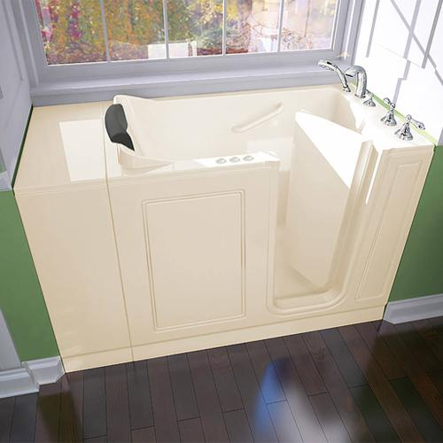 American Standard - Luxury Series Right Drain Walk-in Tub Combination Massage with Tub Faucet  American Standard - Linen