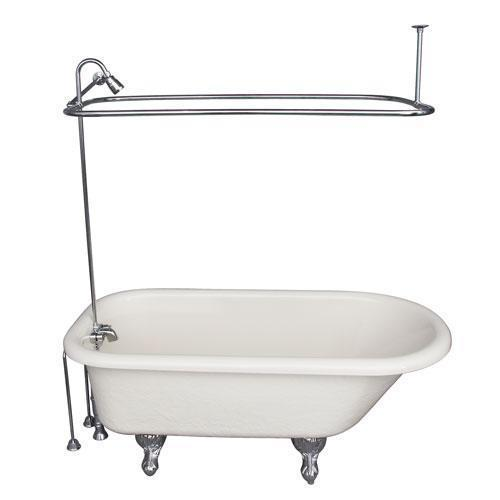 """Andover 60"""" Acrylic Roll Top Tub Kit in Bisque - Polished Chrome Accessories"""