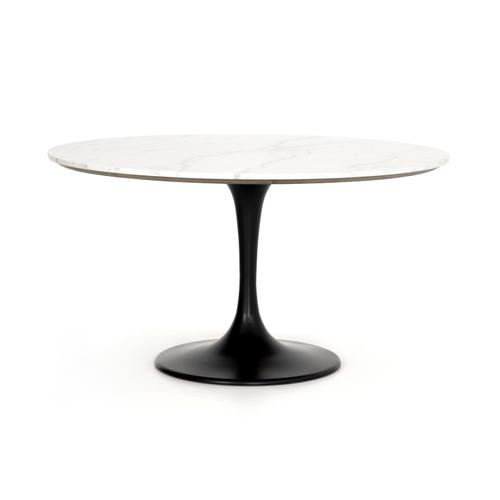 """White Marble Finish 55"""" Size Powell Dining Table"""