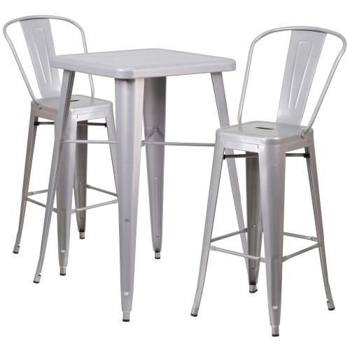Alamont Furniture - 23.75'' Square Silver Metal Indoor-Outdoor Bar Table Set with 2 Stools with Backs