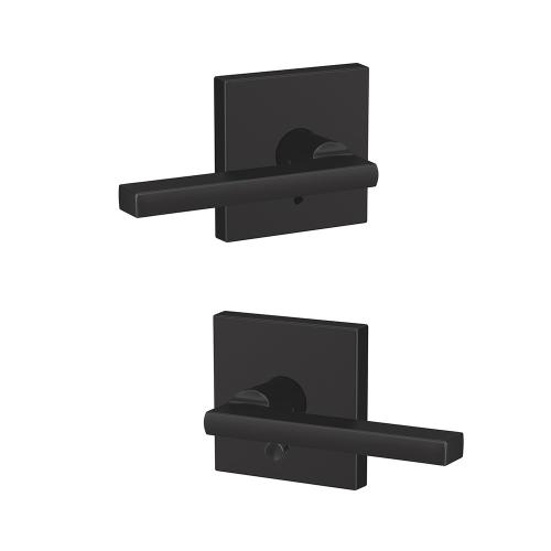 Custom Latitude Lever with Collins Trim Hall-Closet and Bed-Bath Lock - Matte Black