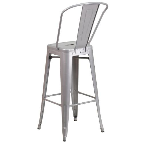 30'' High Silver Metal Indoor-Outdoor Barstool with Back