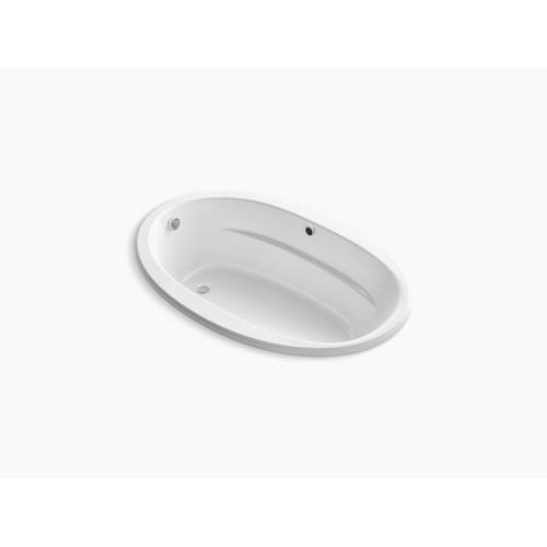 "White 60"" X 42"" Oval Drop-in Bath With Bask Heated Surface and Reversible Drain"