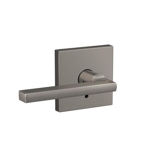 Custom Latitude Lever with Collins Trim Hall-Closet and Bed-Bath Lock - Satin Nickel