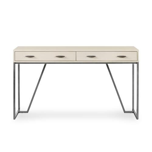 Brushed Gunmetal Finish Shagreen Desk