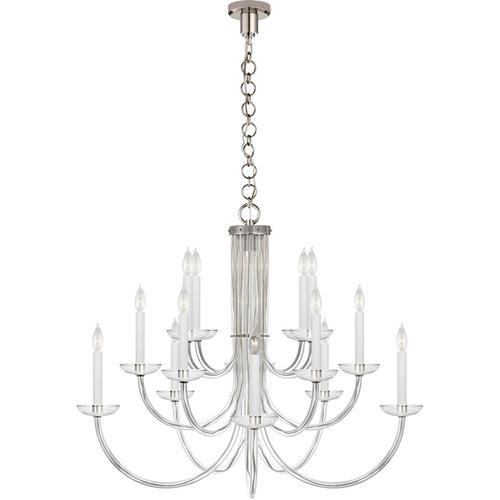 Visual Comfort - AERIN Wharton 15 Light 38 inch Polished Nickel Chandelier Ceiling Light