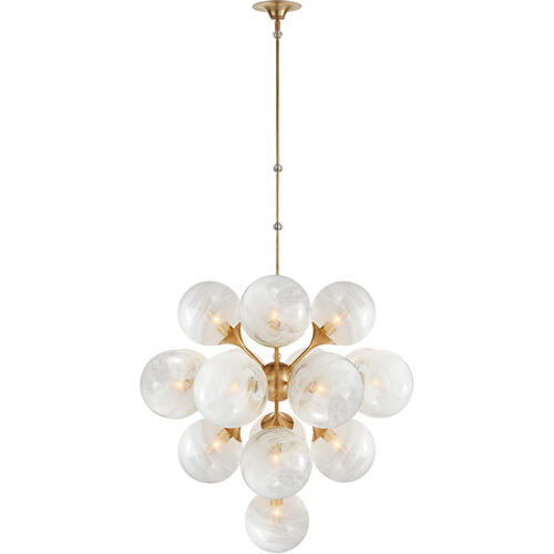 AERIN Cristol 17 Light 33 inch Hand-Rubbed Antique Brass Tiered Chandelier Ceiling Light, Large