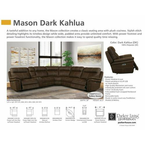 MASON - DARK KAHLUA Power Left Arm Facing Recliner