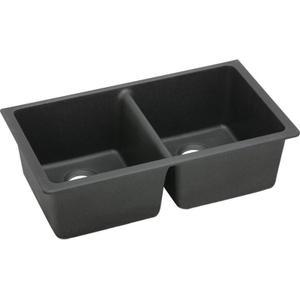 "Elkay Quartz Classic 33"" x 18-1/2"" x 9-1/2"", Equal Double Bowl Undermount Sink, Black Product Image"