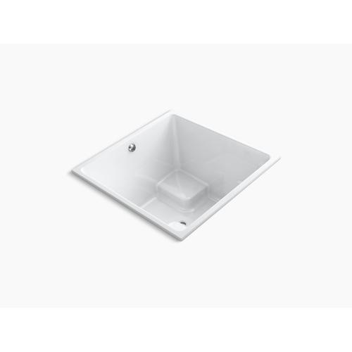 "White 48"" X 48"" Cube Drop-in Bath With Bask Heated Surface and Center Drain"