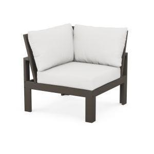 Polywood Furnishings - Modular Corner Chair in Vintage Coffee / Natural Linen