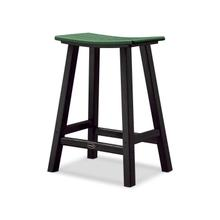 "Black & Green Contempo 24"" Saddle Bar Stool"