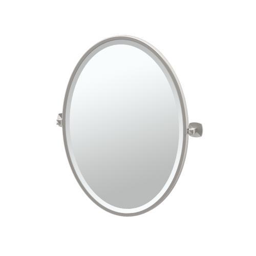 Jewel Framed Oval Mirror in Satin Nickel