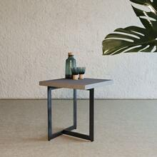 View Product - Modrest Sharon Modern Concrete & Black Metal End Table