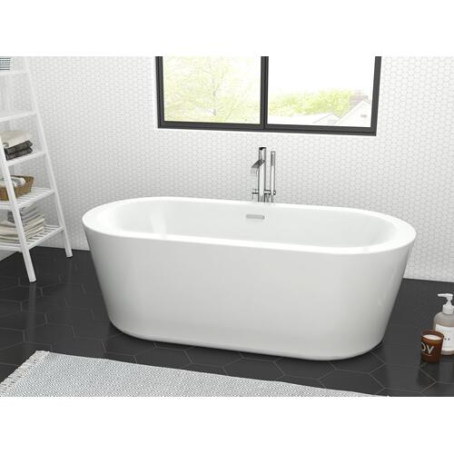 """Ollie 55"""" Acrylic Tub with Integral Drain and Overflow - Polished Nickel Drain and Overflow"""