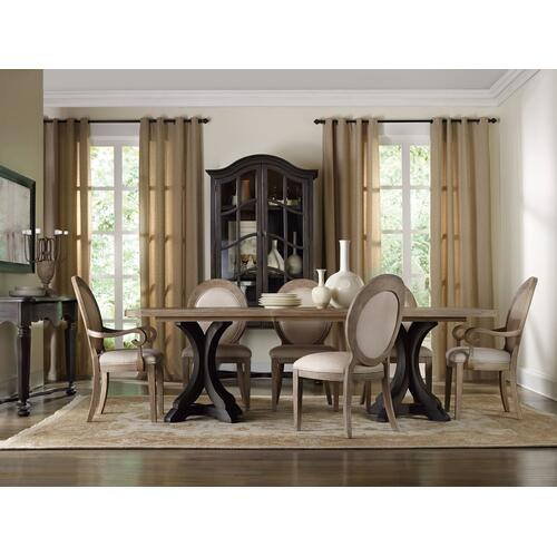 Dining Room Corsica Dark Rectangle Pedestal Dining Table (Dark Base/Light Top)