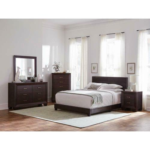 Dorian Brown Faux Leather Upholstered California King Bed