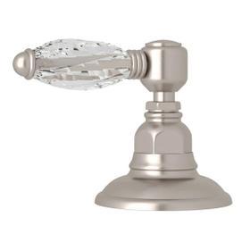 Deck Mount 3-Port 2 Direction Diverter - Satin Nickel with Crystal Metal Lever Handle