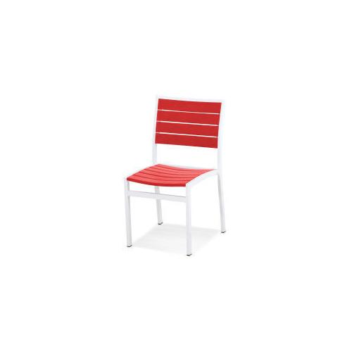 Polywood Furnishings - Eurou2122 Dining Side Chair in Satin White / Sunset Red