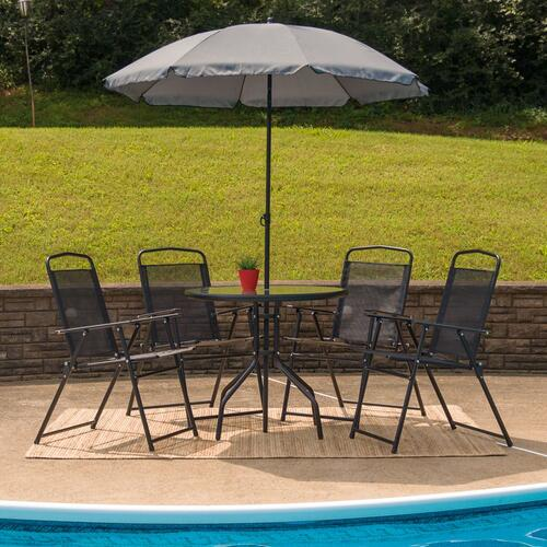 6 Piece Patio Garden Set with Table, Umbrella and 4 Folding Chairs