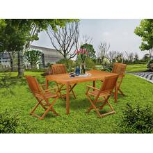 This 5 Pc Acacia Wood Courtyard Dining Sets offers an Outdoor-Furniture table and four patio dining chairs
