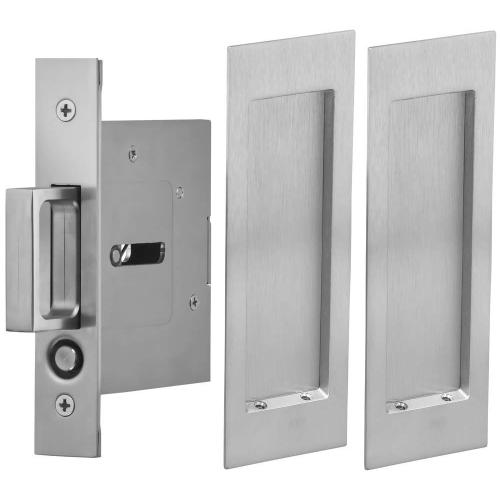 Passage Pocket Door Lock with Modern Rectangular Trim featuring Mortise Edge Pull in (US26D Satin Chrome Plated)