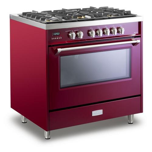 "Verona - Burgundy 36"" Dual Fuel - Designer Series"