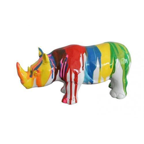 Gallery - Modrest Modern Colorful Drips Rhino Sculpture