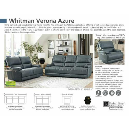 Parker House - WHITMAN - VERONA AZURE - Powered By FreeMotion Power Cordless Loveseat