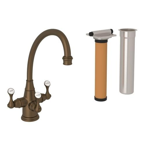 English Bronze Perrin & Rowe Georgian Era Filtration 3-Lever Kitchen Faucet with Etruscan Metal Lever