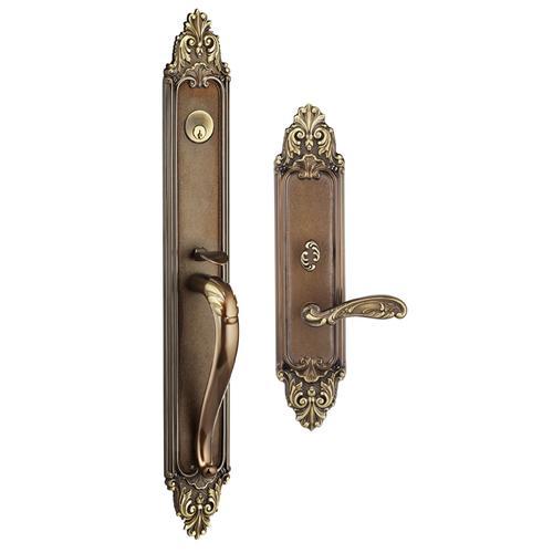 Exterior Ornate Mortise Entrance Handleset Lockset in w/ 233 (Exterior Ornate Mortise Entrance Handleset Lockset - Solid Brass)