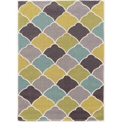 Trio Tiles Greens Gold Blue Silk 5ftx7ft