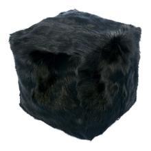 Goat Fur Pouf Black