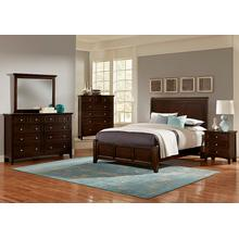 BONANZA QUEEN MANSION BEDROOM GROUP in MERLOT - INCLUDES QN BED, DRESSER, MIRROR, CHEST & N. STAND