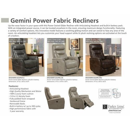 Parker House - GEMINI - TRUFFLE Power Swivel Glider Recliner