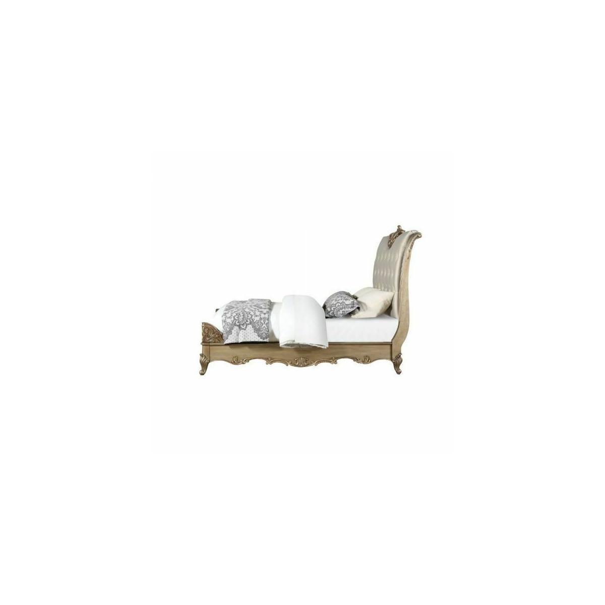ACME Orianne Eastern King Bed - 23787EK - Champagne PU & Antique Gold