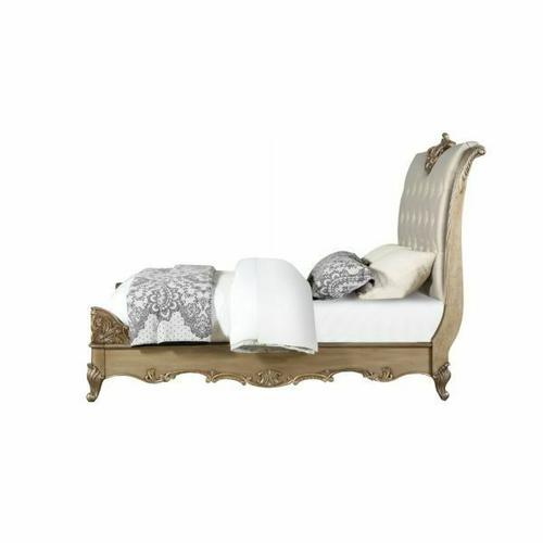 ACME Orianne Eastern King Bed - 23787EK - Champagne PU & Antique Gold
