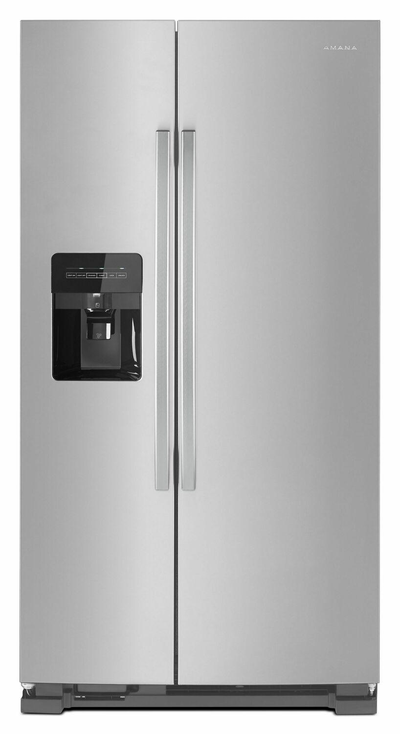 Amana36-Inch Side-By-Side Refrigerator With Dual Pad External Ice And Water Dispenser - Black-On-Stainless