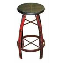 See Details - Iron & Wood Red Scraped Barstool