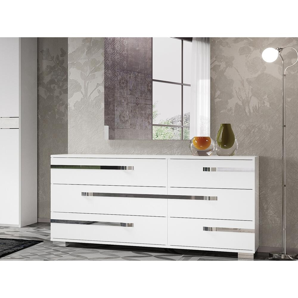 The Wave Dresser In High Gloss White Melamine With Chrome Trim